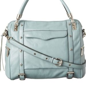 REBECCA MINKOFF LEATHER CUPID SATCHEL SEAGLASS